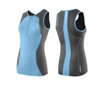2XU G:2 ACTIVE women's triathlon top charcoal/amalfi