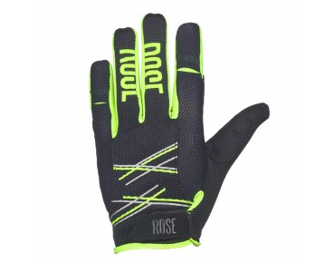 ROSE FR PURE full-finger gloves black/yellow fluo