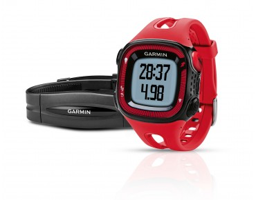 Garmin Forerunner 15 GPS watch with heart rate chest strap rot/schwarz