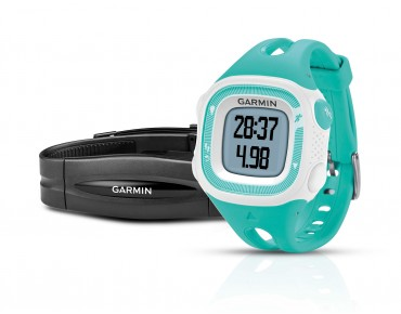 Garmin Forerunner 15 GPS watch with heart rate chest strap türkis/weiß