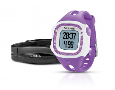 Garmin Forerunner 15 GPS watch with heart rate chest strap violett/weiß