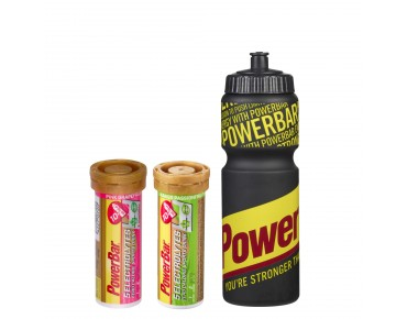 PowerBar 5 Electrolytes effervescent tablet set offer including drinks bottle (750 ml) schwarz