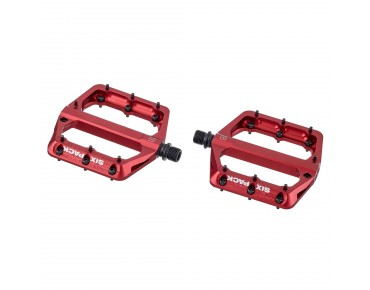 Sixpack Millenium aluminium pedal with CroMo axle red