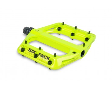 Sixpack Millenium aluminium pedal with CroMo axle day-glo yellow