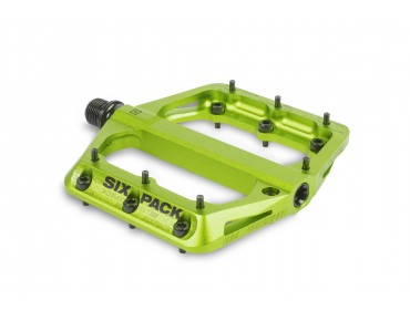 Sixpack Millenium aluminium pedal with CroMo axle electric green