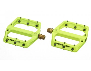 Sixpack Millenium magnesium pedal with titanium axle day-glo yellow