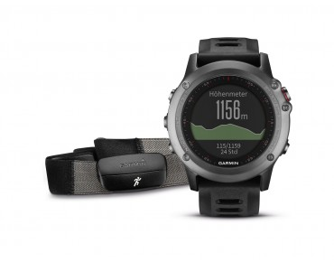Garmin fenix® 3 GPS multisport watch Performer bundle with heart rate chest strap grau/schwarz