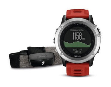 Garmin fenix® 3 GPS multisport watch Performer bundle with heart rate chest strap silber/rot