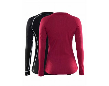 CRAFT ACTIVE MULTI 2-PACK long-sleeved base layer for women ruby & black