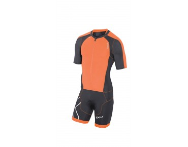 2XU COMPRESSION FULL ZIP SLVD Trisuit ink/sunburst orange