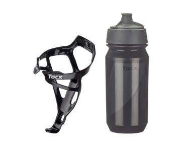 Tacx drinks bottle Shanti Twist 500 ml + Deva bottle cage set Deva carbon/Shanti schwarz