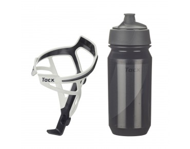 Tacx drinks bottle Shanti Twist 500 ml + Tacx Deva bottle cage set Deva weiß/Shanti schwarz