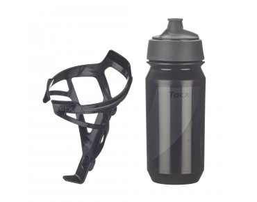 Tacx drinks bottle Shanti Twist 500 ml + Deva bottle cage set Deva schwarz/Shanti schwarz