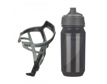 Tacx drinks bottle Shanti Twist 500 ml + Tacx Deva bottle cage set Deva grau/Shanti schwarz