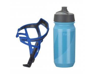 Tacx drinks bottle Shanti Twist 500 ml + Tacx Deva bottle cage set Deva dunkelblau/Shanti blau