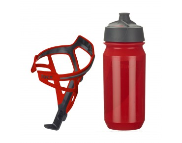 Tacx drinks bottle Shanti Twist 500 ml + Deva bottle cage set Deva red/Shanti red