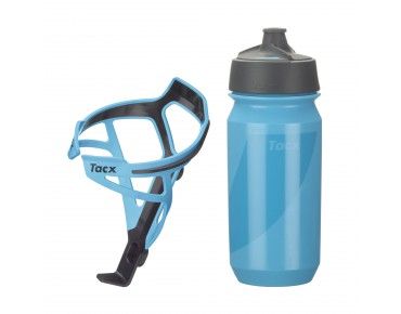 Tacx drinks bottle Shanti Twist 500 ml + Tacx Deva bottle cage set Deva hellblau/Shanti blau