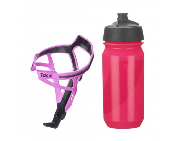 Tacx drinks bottle Shanti Twist 500 ml + Deva bottle cage set Deva pink/Shanti pink