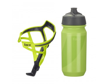 Tacx drinks bottle Shanti Twist 500 ml + Tacx Deva bottle cage set Deva grün/Shanti grün