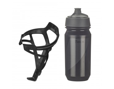 Tacx drinks bottle Shanti Twist 500 ml + Deva bottle cage set Deva schwarz matt/Shanti schwarz