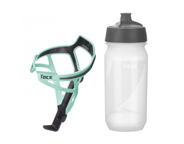 Tacx drinks bottle Shanti Twist 500 ml + Deva bottle cage set Deva Bianchi green/Shanti transparent