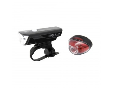 Cateye GVolt 25 HL-EL360GRC Rapid 1 TL-LD611G lighting set black