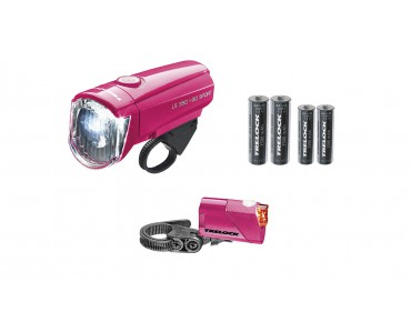 Trelock LS 350 I-GO Sport/ 710 Reego Kombi battery lighting set pink