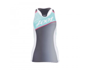 ZOOT TEAM RACERBACK women's tri top aquamarine/passion fruit