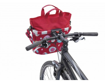 Reisenthel BIKEBASKET OVAL S handlebar bag with KLICKfix mount funky dots II