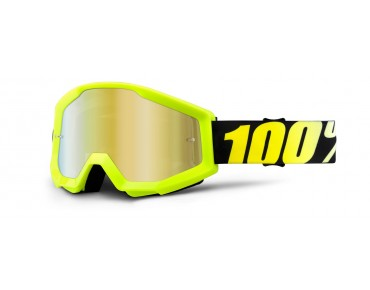 100% STRATA MIRROR - maschera neon yellow/mirror gold