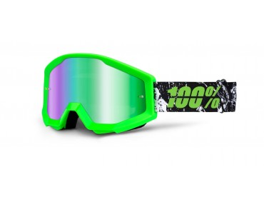 100% STRATA MIRROR goggles crafty lime/mirror green