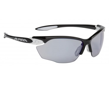 ALPINA TWIST FOUR VLM+ sports glasses black-white-black/varioflex bluemirror