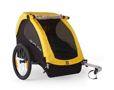 Burley BEE 16 bicycle trailer for two kids yellow