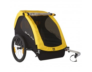 Burley BEE child bike trailer for two kids yellow
