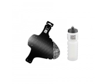 ROSE set: schlamm:PE carbon front mudguard and Softtouch-Gripper drinks bottle 750 ml