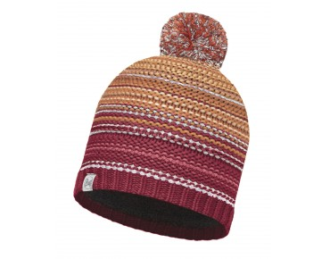 BUFF NEPER KNITTED & POLAR FLEECE hat red samba