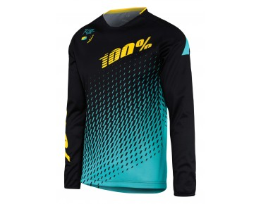 100% R-CORE SUPRA DH long-sleeved cycling shirt black/cyan