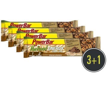 PowerBar Natural Energy Cereal Riegel Set 3 + 1 gratis Cacao-Crunch