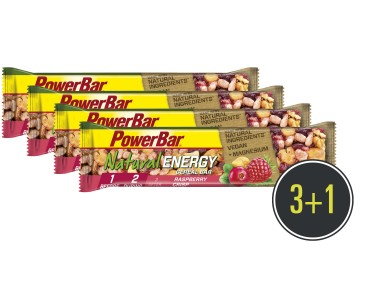 PowerBar Natural Energy Cereal Riegel Set 3 + 1 gratis Raspberry Crisp