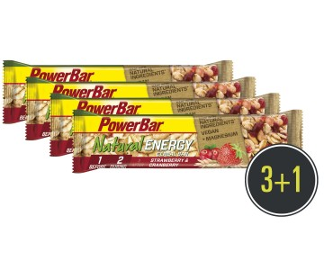 PowerBar Natural Energy Cereal Riegel Set 3 + 1 gratis Strawberry-Cranberry