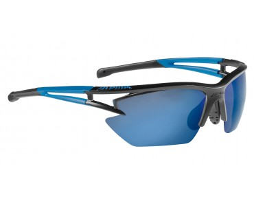 ALPINA EYE-5 HR S CM+ - occhiali black matt-blue/blue mirror