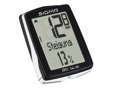 Sigma BC 14.16 bike computer - wired - black/white