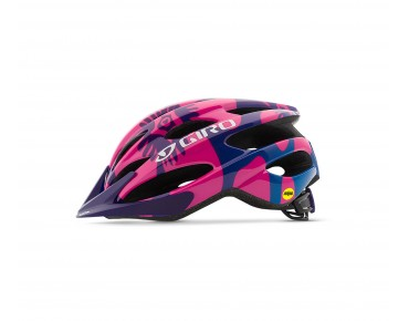 GIRO RAZE Kinder Fahrradhelm berry/blue flowers