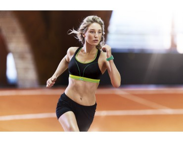 Shock Absorber RUN sports bra black/lime