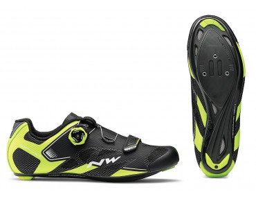 NORTHWAVE SONIC 2 PLUS - scarpe bici da strada black/yellow fluo/white