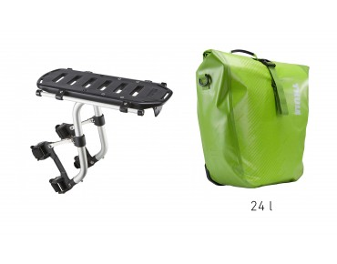 Thule set offer Pack 'n Pedal Tour Rack and Shield Pannier chartreuse