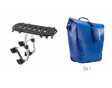 Thule set offer Pack 'n Pedal Tour Rack and Shield Pannier cobalt