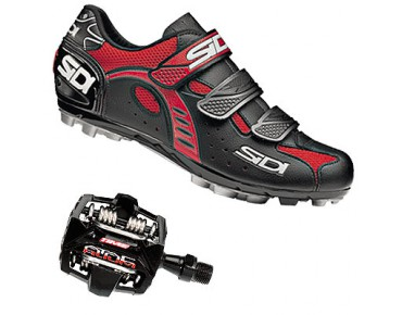 keine Marke Schuh SIDI BULLET 2 + Pedal Time A.T.A.C. Alium schwarz/rot